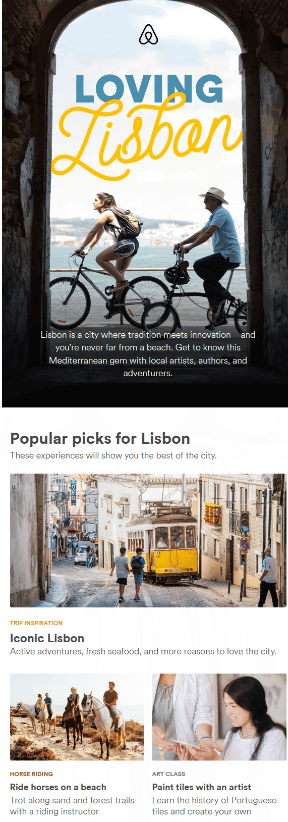 AirBNB personalized email example