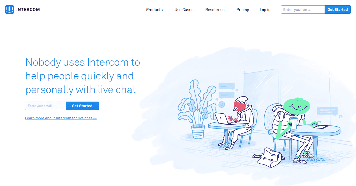 Intercom landing page humor attempt