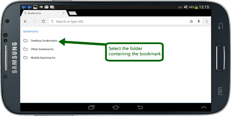Select a bookmarks folder on Android