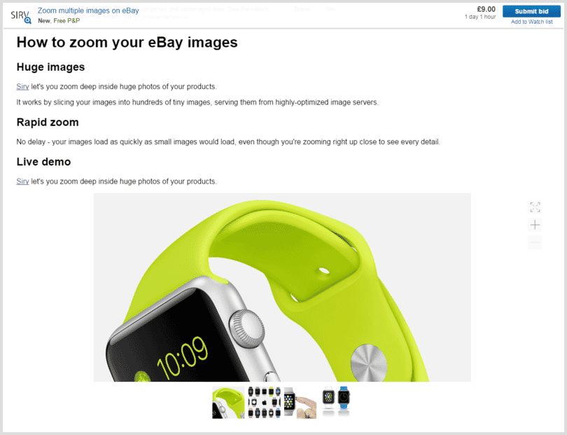 Zoom images in eBay listing descriptions - multiple