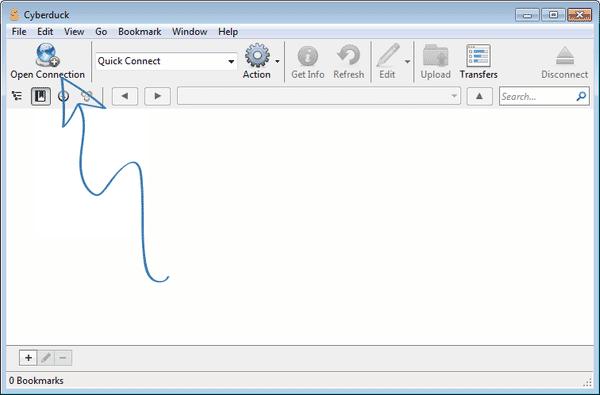 Cyberduck screenshot - open connection