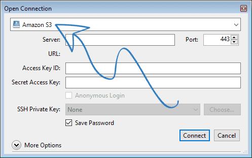 Cyberduck screenshot - choose S3 from dropdown menu