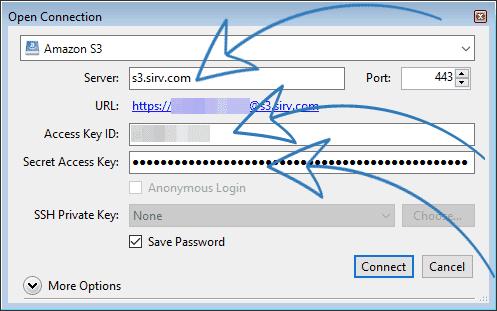 Cyberduck screenshot - enter the Server, Access Key ID and Secret Access Key