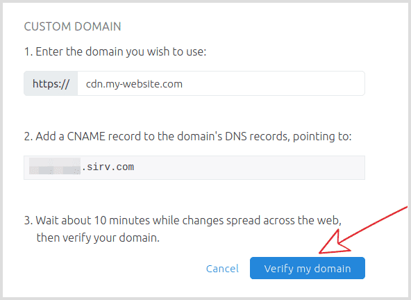 Verify your new CNAME record