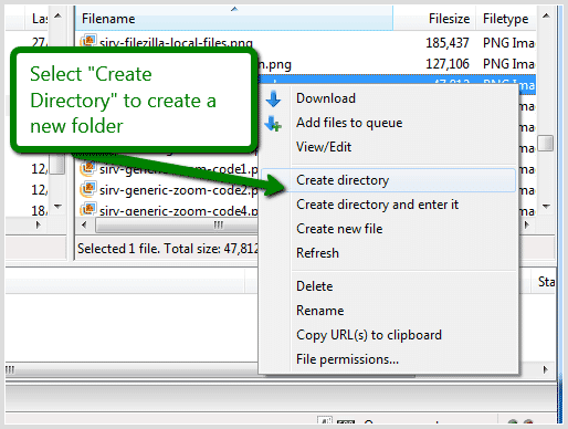 Create new folder FileZilla