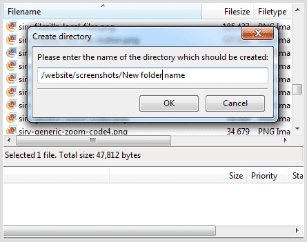 FileZilla new folder name