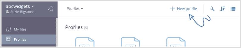 Screenshot: create a new profile
