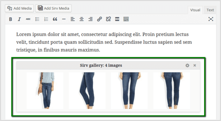 Sirv responsive images appear as a gallery