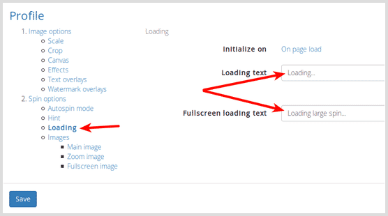 Screenshot of loading message settings