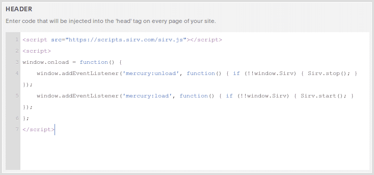 Screnshot: Squarespace code injection