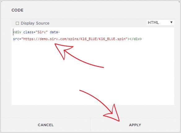 Paste HTML code into code block